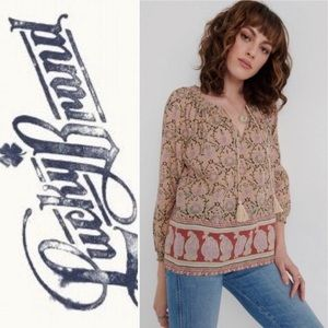 🆕{LUCKY 🍀 BRAND}Patterned Peasant Top w/ Tassles